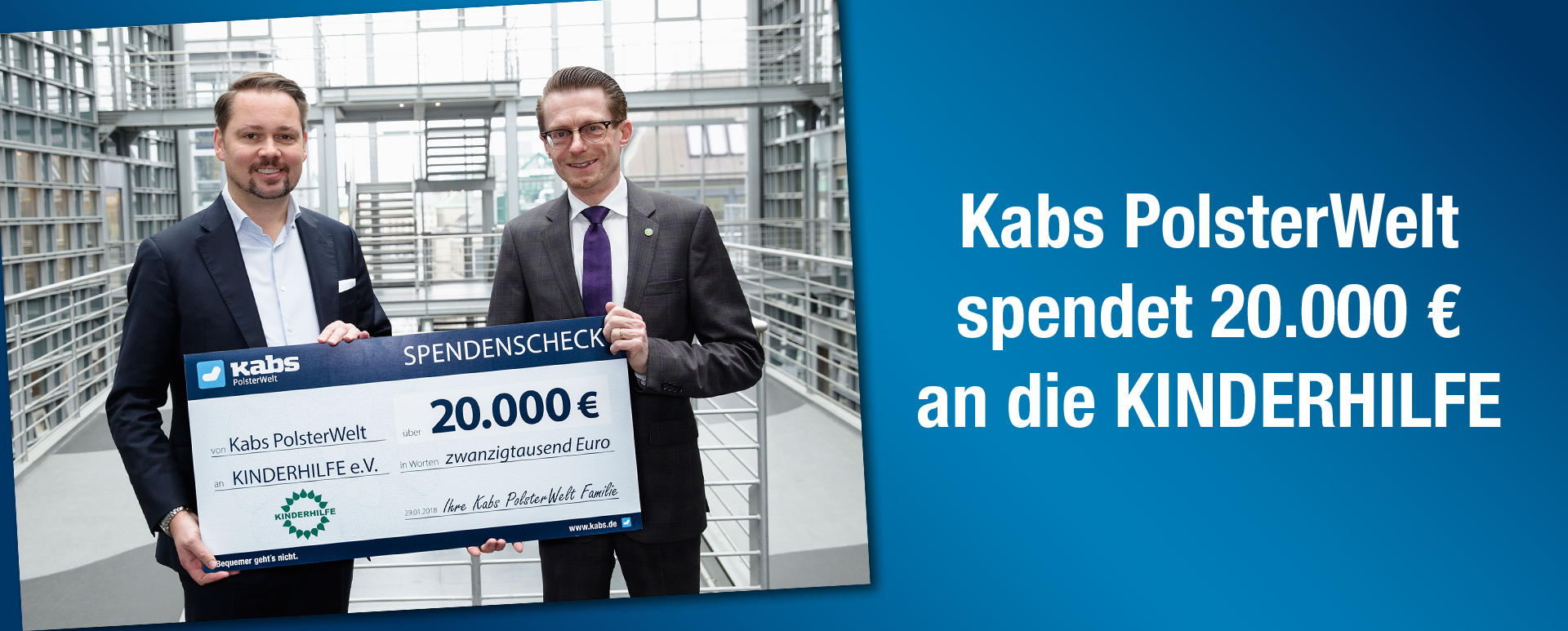 Aktion - Kabs PolsterWelt spendet 20.000 € an die KINDERHILFE
